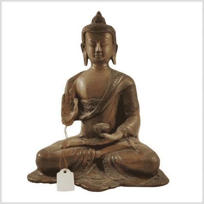 Segnender Buddha Amoghasiddhi Messing Vorne