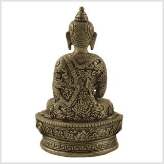 Erleuchteter Buddha 1kg Messing Hinten
