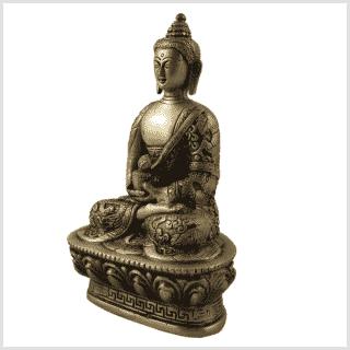 Erleuchteter Buddha 1kg Messing Seite links
