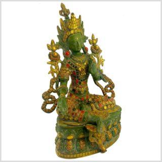 Grüne Tara 36cm Nepalgrün mit Steinen Seite