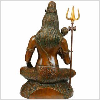 Shiva sitzend Messing braungrün 16kg Rücken