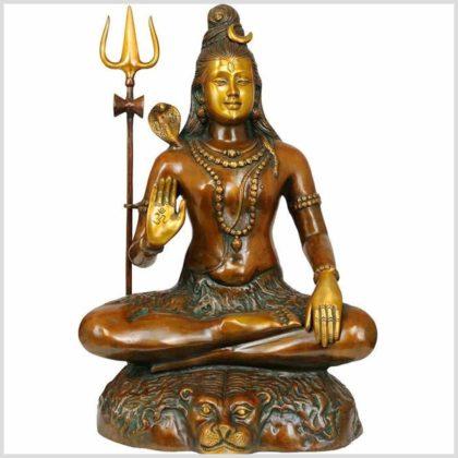 Shiva sitzend Messing braungrün 16kg Vorne