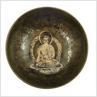 Nepalklangschale Erdender Buddha 624g 14,5cm