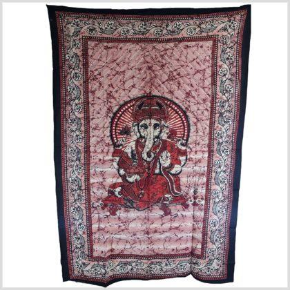 Wandbehang Ganesha Wandtuch rot Vollansicht