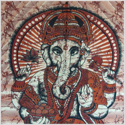 Wandbehang Ganesha Wandtuch rot Nahansicht