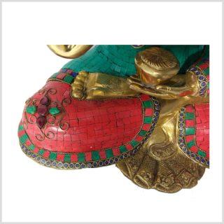 Lehrender Buddha 10,3kg Messing mit Steinen linke Seite