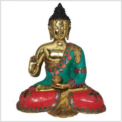 Lehrender Buddha 10,3kg Messing mit Steinen Vorne
