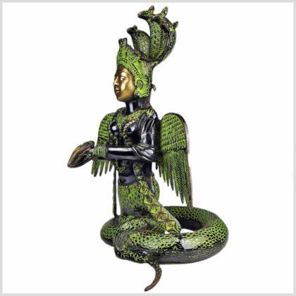 Nag Kanya Schlangengöttin Messing grünantik 45,7cm 1