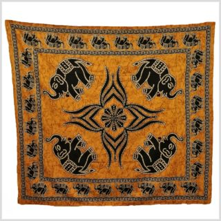 Batik Wandtuch Elefant orange