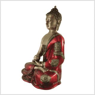 Erleuchteter Buddha feuerrot 25cm Seite links