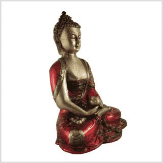 Erleuchteter Buddha feuerrot 25cm Seite rechts