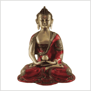 Erleuchteter Buddha feuerrot 25cm vorne