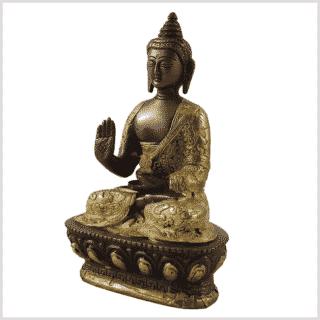 Segnender Buddha Messing Kupfer 17cm Seitenansicht