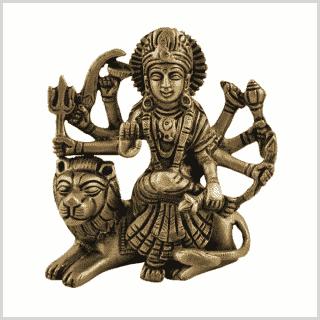 Durga sitzend Messing