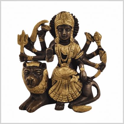 Durga sitzend Kupfergold