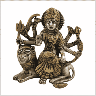 Durga sitzend Silbergold