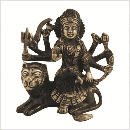 Durga sitzend rotgrün