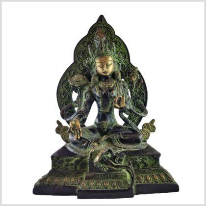 Grüne Tara auf Podest 24cm grünantik Vorne