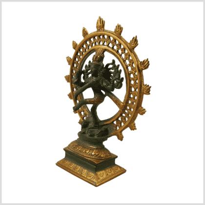 Tanzender Shiva grüngold Antik Messing 17cm Seitenansicht