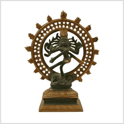 Tanzender Shiva grüngold Antik Messing 17cm Vorderansicht