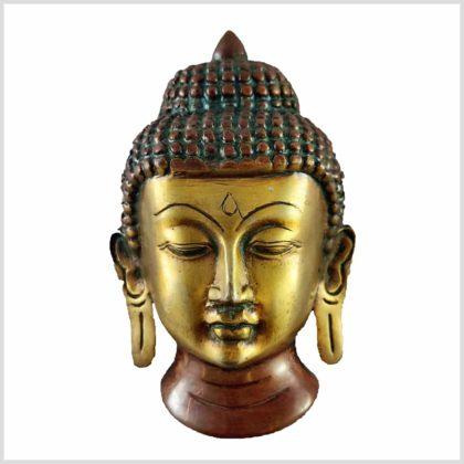 Buddhakopf Messing braungrün