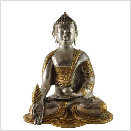 Medizinbuddha Ashtamangala Messing Silber vorne