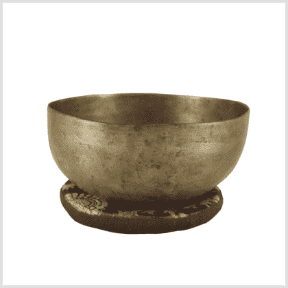 Halschakra Klangschale aus Tibet 403g Seitenansicht