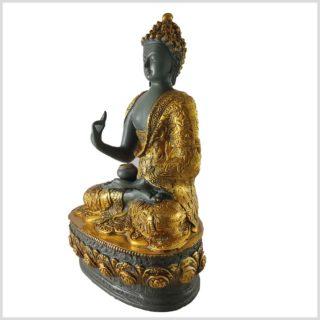Lehrender Buddha Messing graugold Seite links