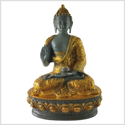 Lehrender Buddha Messing graugold 33cm Vorne