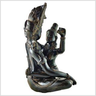 Shakti Yab-Yum Statue braungrün Pattina Seite