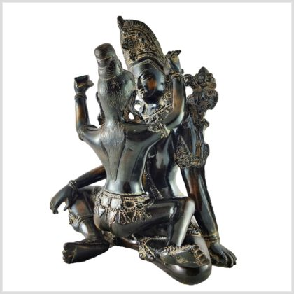 Shakti Yab-Yum Statue braungrün Pattina Hinten