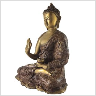 Lehrender Buddha Messing Aubergine Seite links