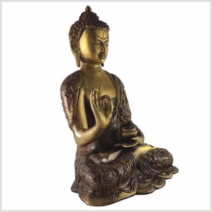 Lehrender Buddha Messing Aubergine Seite rechts