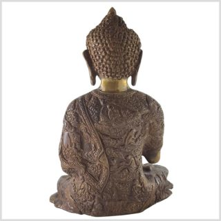 Lehrender Buddha Messing Aubergine Hinten