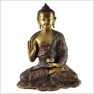 Lehrender Buddha Messing Aubergine Vorne