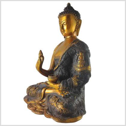 Lehrender Buddha Messing braungold Seite links