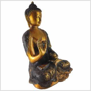 Lehrender Buddha Messing braungold Seite rechts