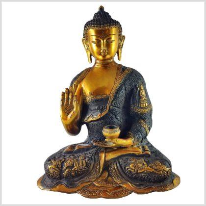 Lehrender Buddha Messing braungold Vorne