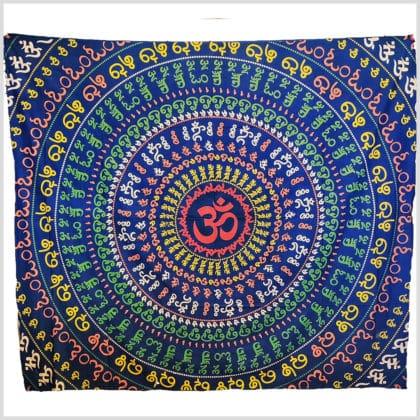 Aum Mandala Wandtuch Wandbehang Aum blau 220cm
