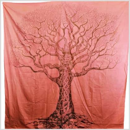 Wandbehang Wandtuch Lebensbaum rosa/lachs/rot oder grün 1
