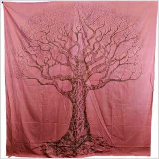 Wandbehang Wandtuch Lebensbaum rosa/lachs/rot oder grün 4