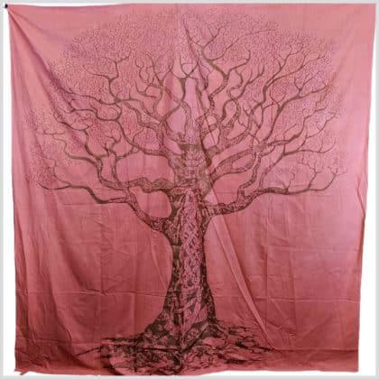 Wandbehang Wandtuch Lebensbaum rosa/lachs/rot oder grün 2