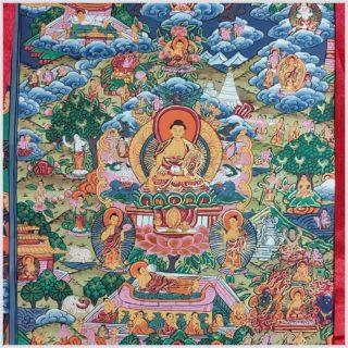 Thangka Zwölf Große Taten Buddhas Nahansicht