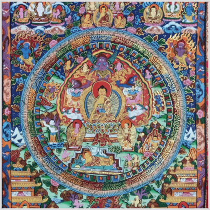 Thangka Buddha Mandala blauorange Nahansicht