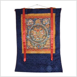 Thangka Buddha Mandala blauorange Vollansicht
