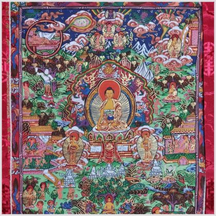 Zwölf große Taten Buddhas Thangka Nahansicht