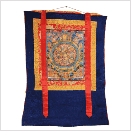 Buddha Thangka Mandala fünf Kreise blau Vollansicht