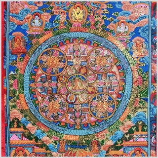 Buddha Thangka Mandala fünf Kreise blau Nahansicht