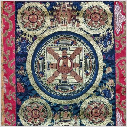 Thangka fünf Mandalas Avalokiteshvara Nahansicht
