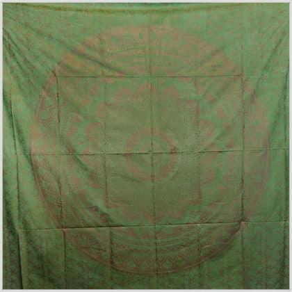 Blumen Mandala Wandtuch Grün Vollansicht